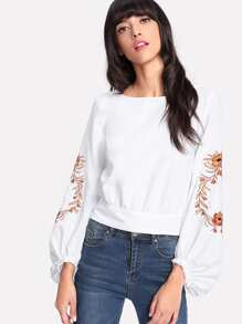 Embroidered Lantern Sleeve Wide Hem Top