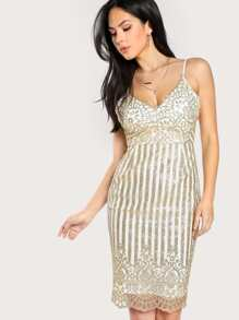 Glitter Lace Overlay Cami Dress