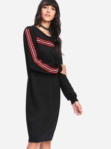 Stripe Tape Detail Sweatshirt Dress