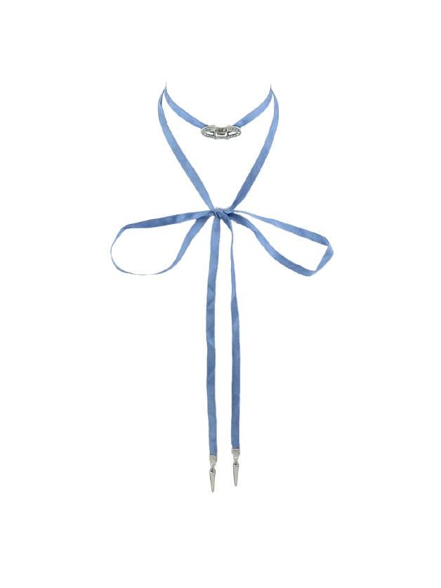 Long Blue Ribbon Choker Necklace