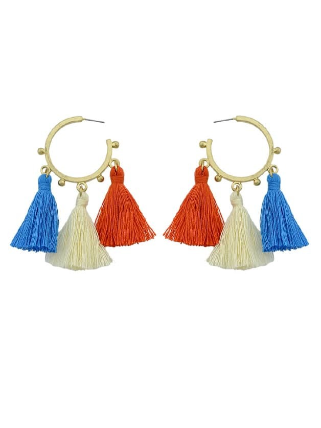 Bohemian Style Blue Red Beige Tassel Hoop Earrings цены онлайн