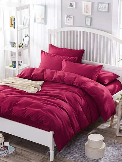 1.8m 4Pcs Simple Solid Duvet Cover Set