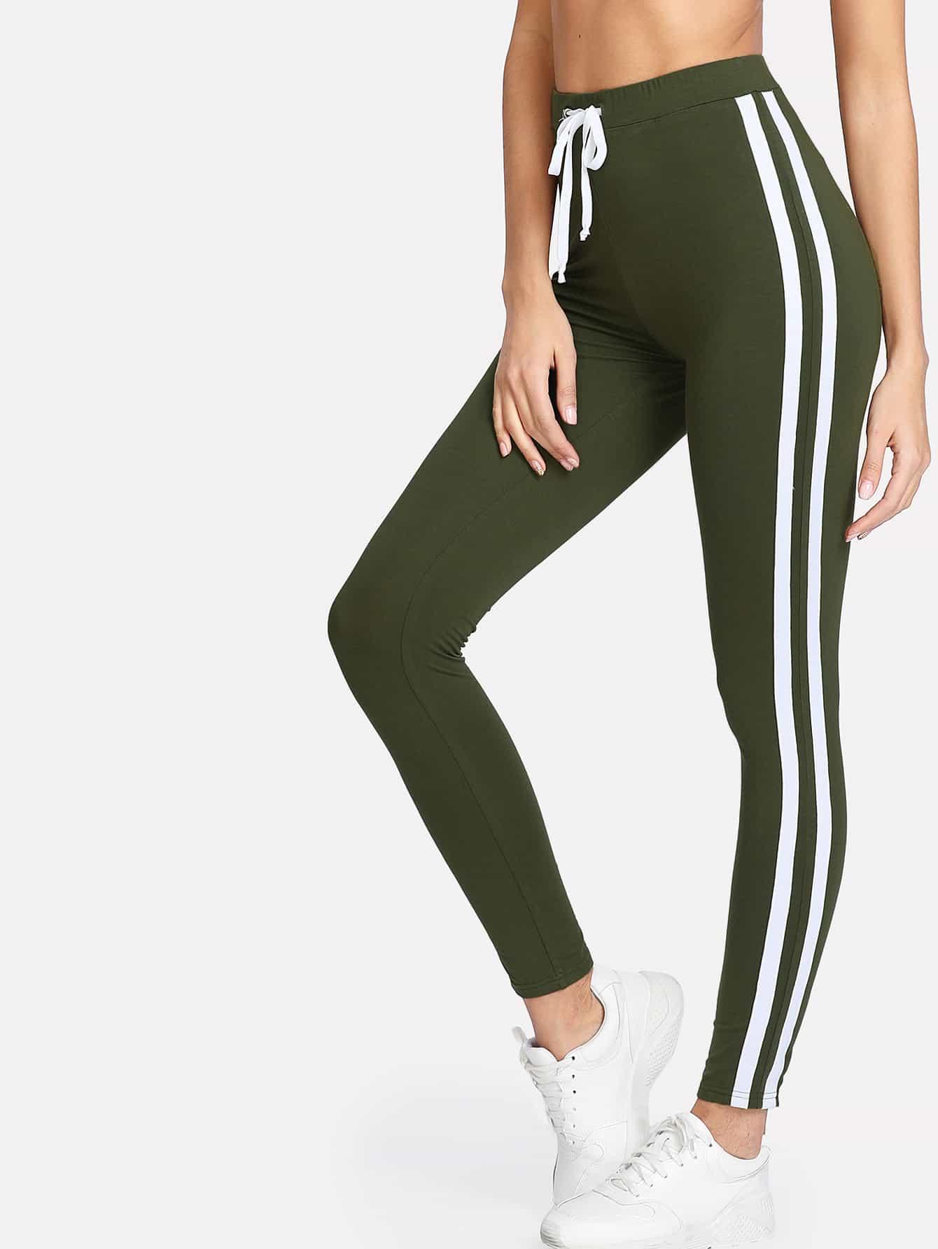 Contrast Tape Side Leggings lettering tape side skinny leggings