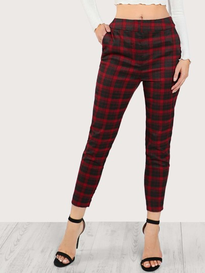 Plaid Print Pants RED