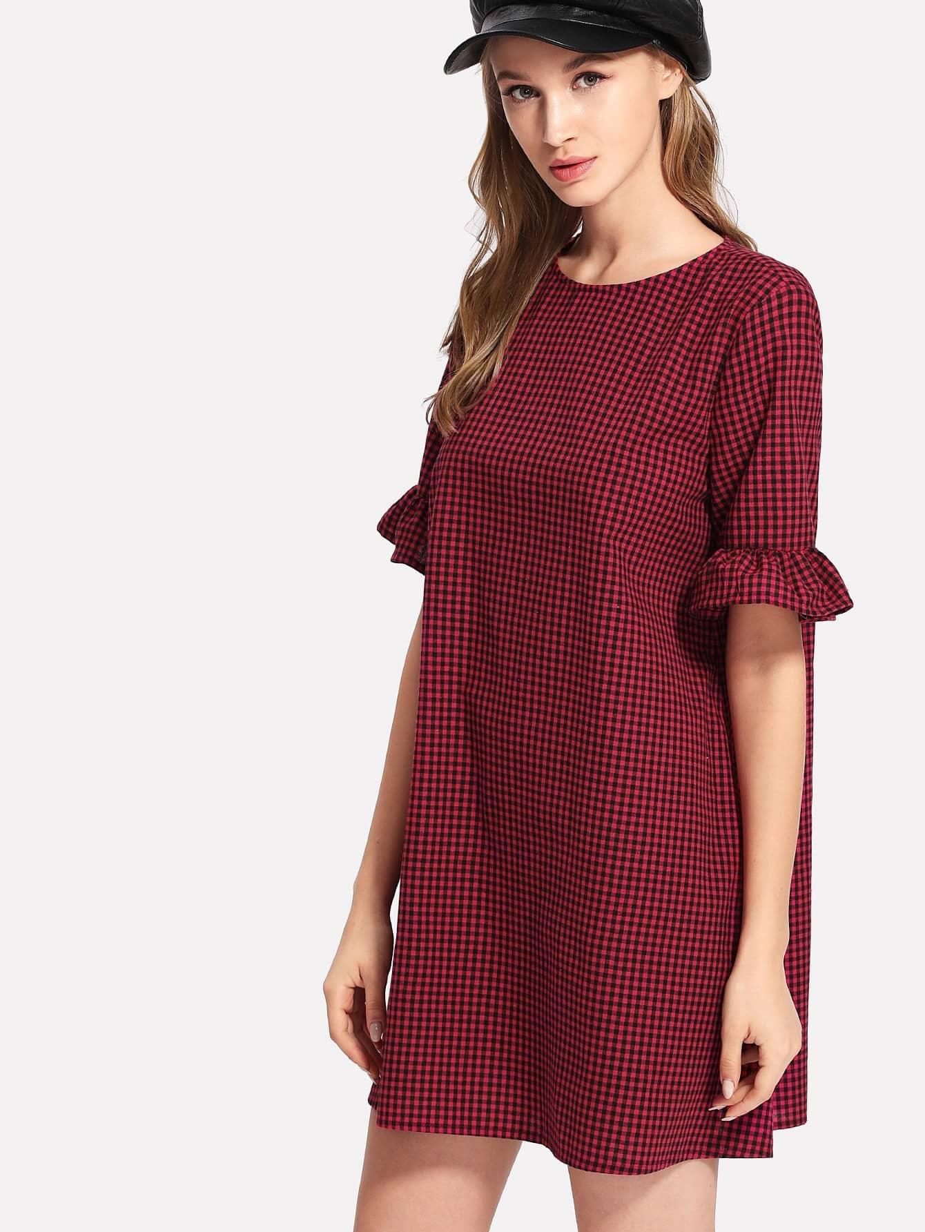 Ruffle Sleeve Gingham Dress raglan sleeve smock gingham dress