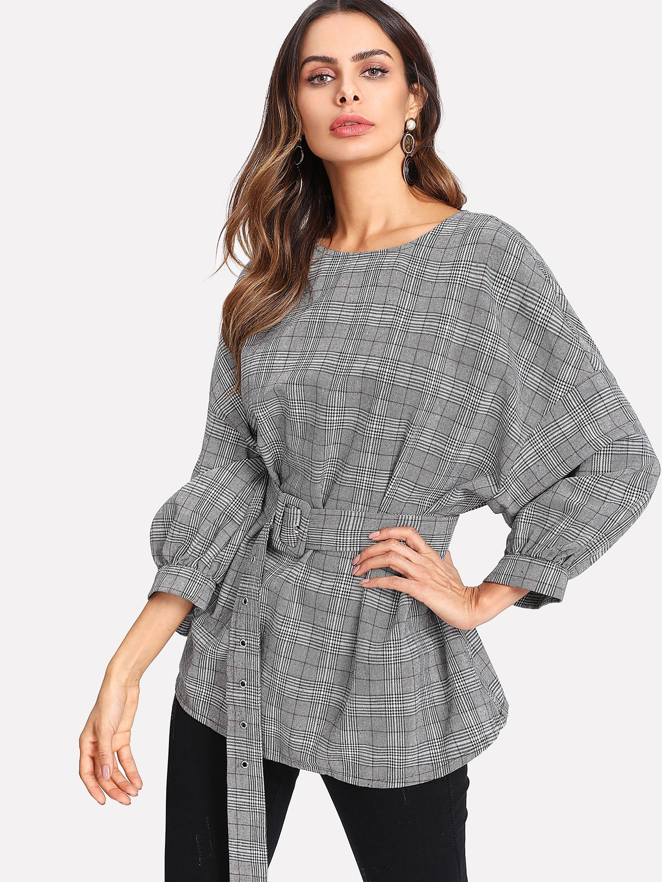 Buckled Belt Detail Plaid Top pearl detail layered frill sleeve top