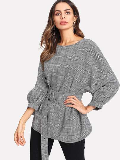 Buckled Belt Detail Plaid Top