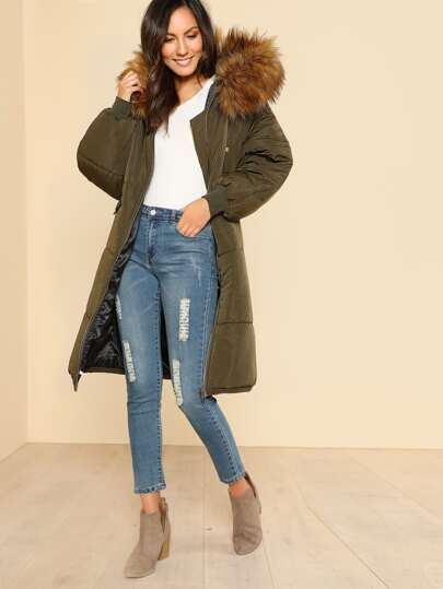 Fur Lined Hooded Puffer Coat OLIVE