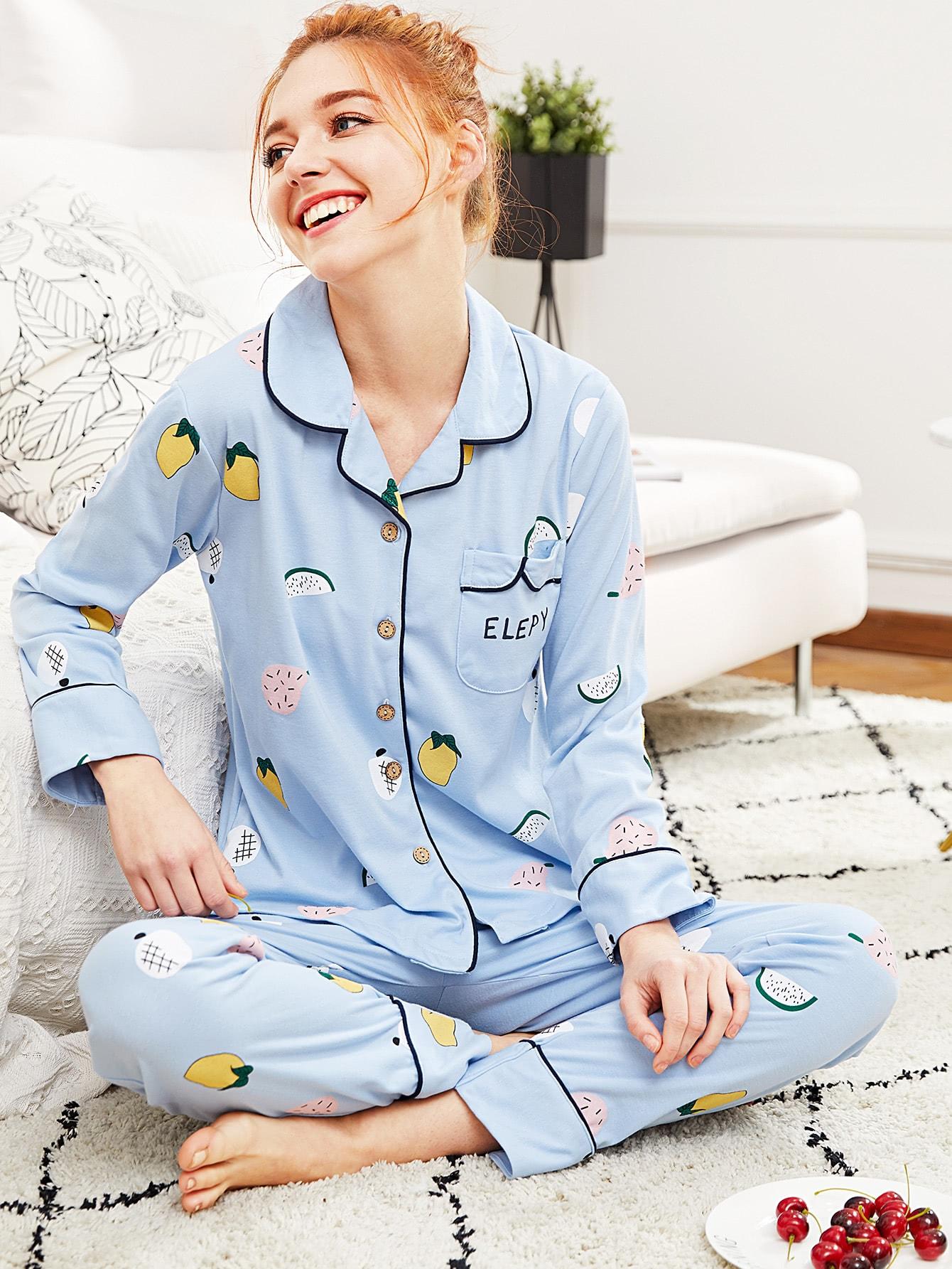 Contrast Binding Fruit Print Shirt & Pants Pj Set