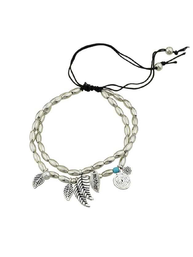 Multi Layers Beads Chain With Leaf Shape Bracelets silver multi layers chain with leaf shape charm bracelets