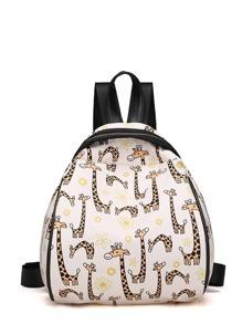 Giraffe Print Curved Top Backpack