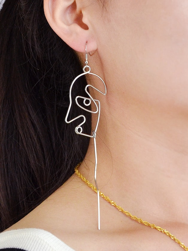 Silver Face Shape Statement Drop Earrings For Women two tone face design drop earrings
