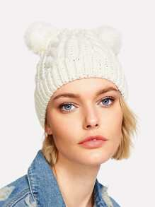 Pom Pom Ear Cable Knit Beanie Hat