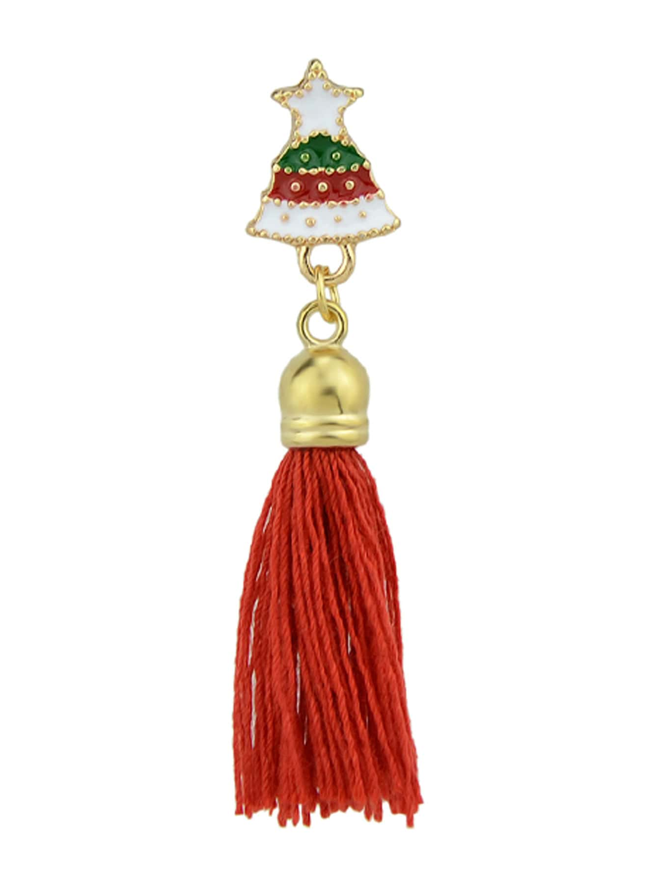 Image of Bell-Red Christmas Jewelry White Red Enamel With Tassel Deer Gift Box Tree Santa Brooches