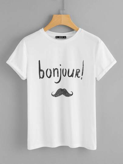 Letter And Moustache Print Tee