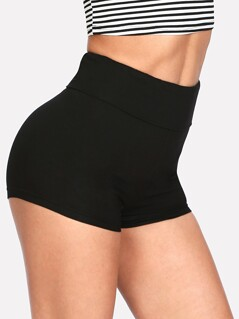 Wide Waist Solid Legging Shorts