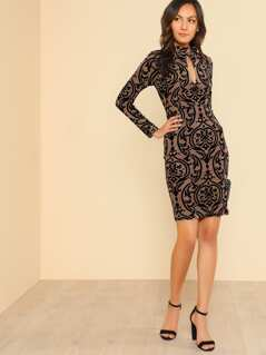 Long Sleeve Bodycon Velvet Embroidered Dress