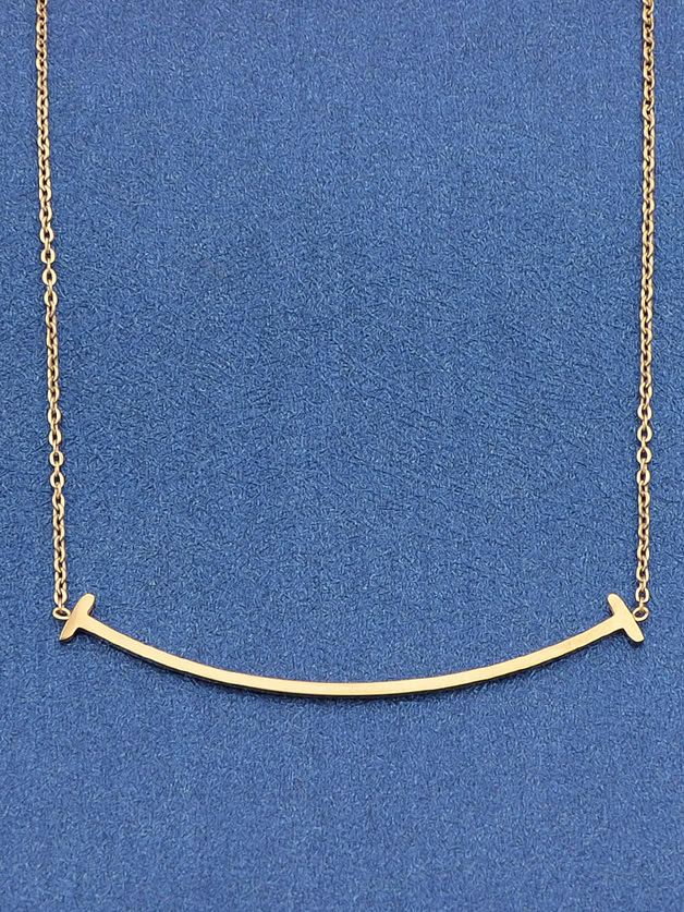 Rosegold Long Chain Geometric Pattern Necklace