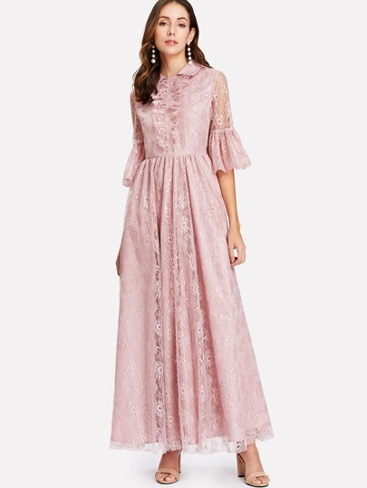 Ruffle Sleeve Fit & Flare Lace Dress