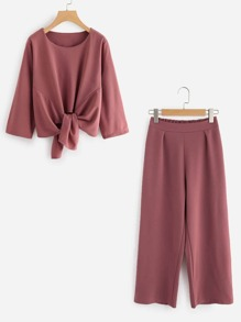 Knot Front Top With Pants Set