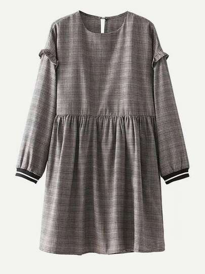 Striped Cuff Glen Plaid Dress