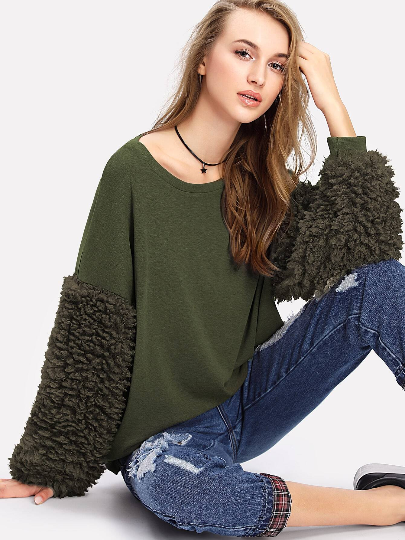 Faux Fur Sleeve Ribbed Knit Sweatshirt drop shoulder contrast faux fur sleeve sweatshirt