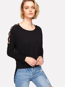 Lattice Shoulder Mesh Panel High Low Tshirt