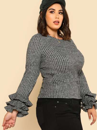 Layered Ruffle Cuff Rib Knit T-shirt