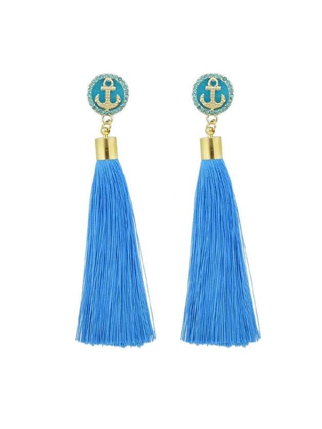 Seeblau Anker Dekoration mit langen Quaste Ohrringe