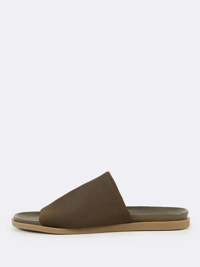 Open Toe Mesh Footbed Slide Sandals OLIVE