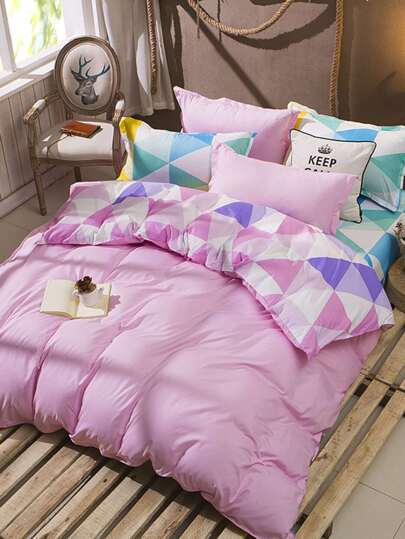 1.5m 4Pcs Geometric Pattern Bed Sheet Set