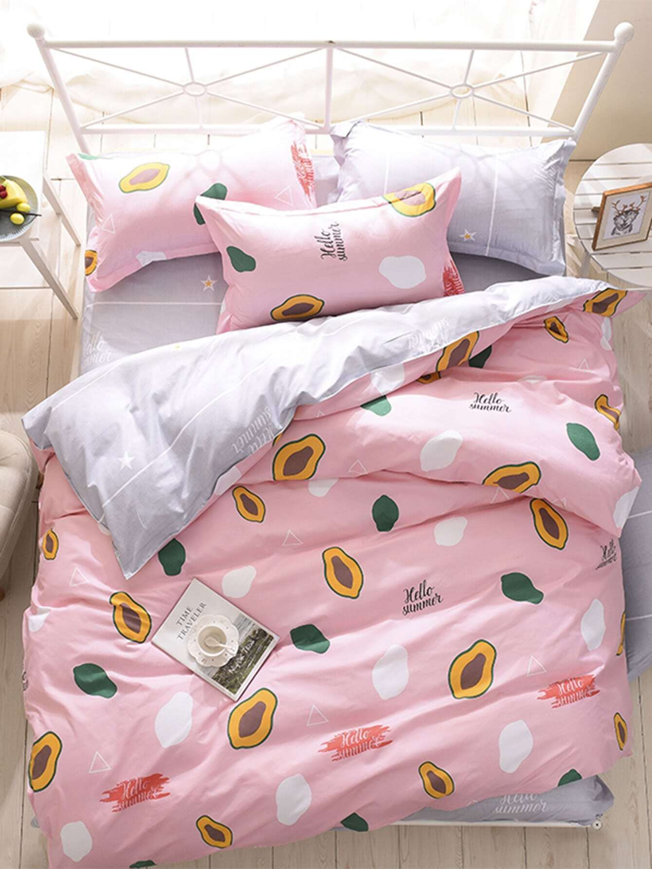 1.2m 4Pcs Fruit Print Duvet Cover Set pair of elegant faux feather tassel drop earrings for women