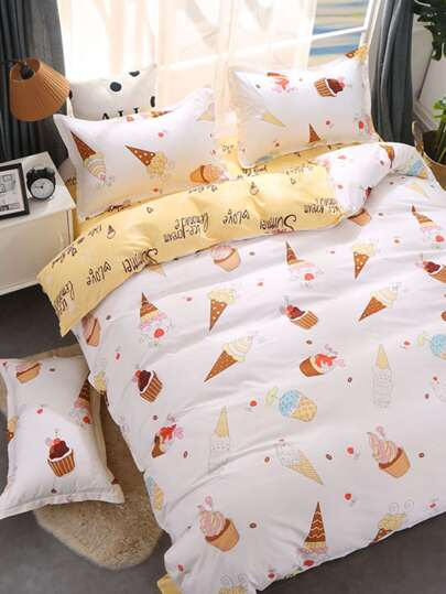 2.0m 4Pcs Ice Cream Print Bedding Set