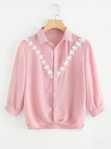 Contrast Lace Shirt