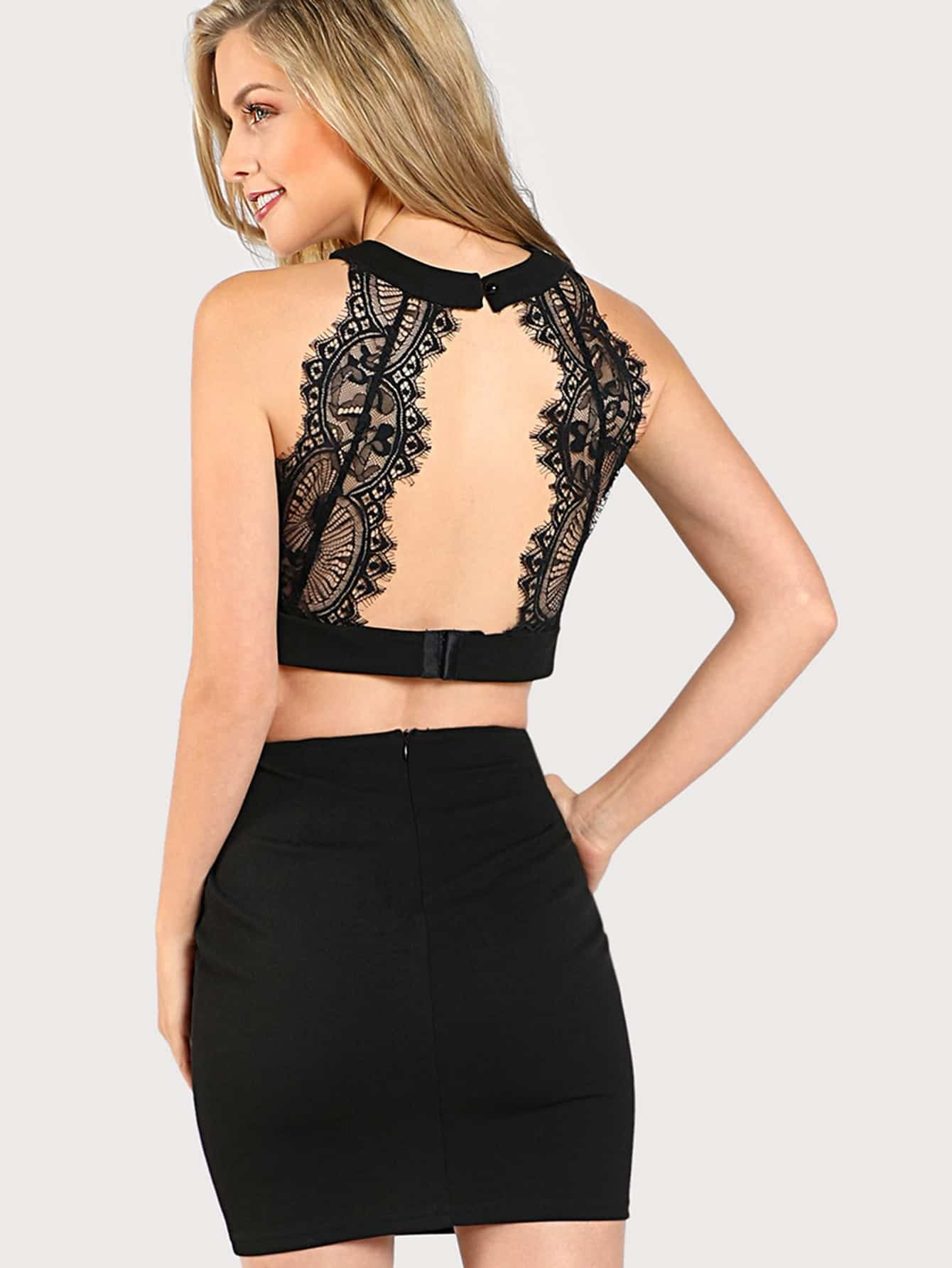 Eyelash Lace Open Back Crop Top & Bodycon Skirt Set