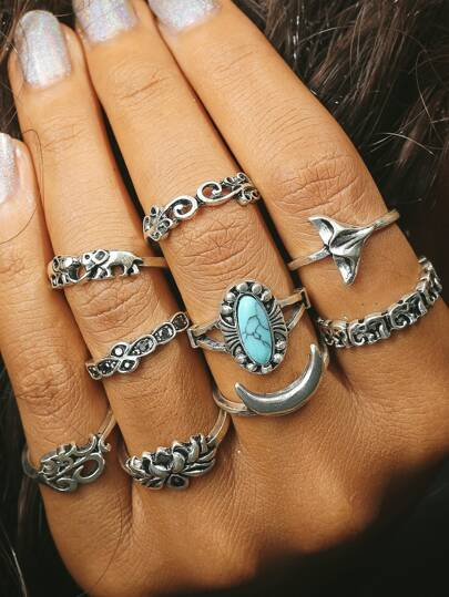 Elephant & Moon Design Ring Set
