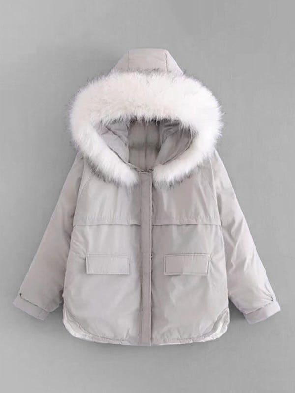 Image of Faux Fur Hooded Oversized Padded Coat