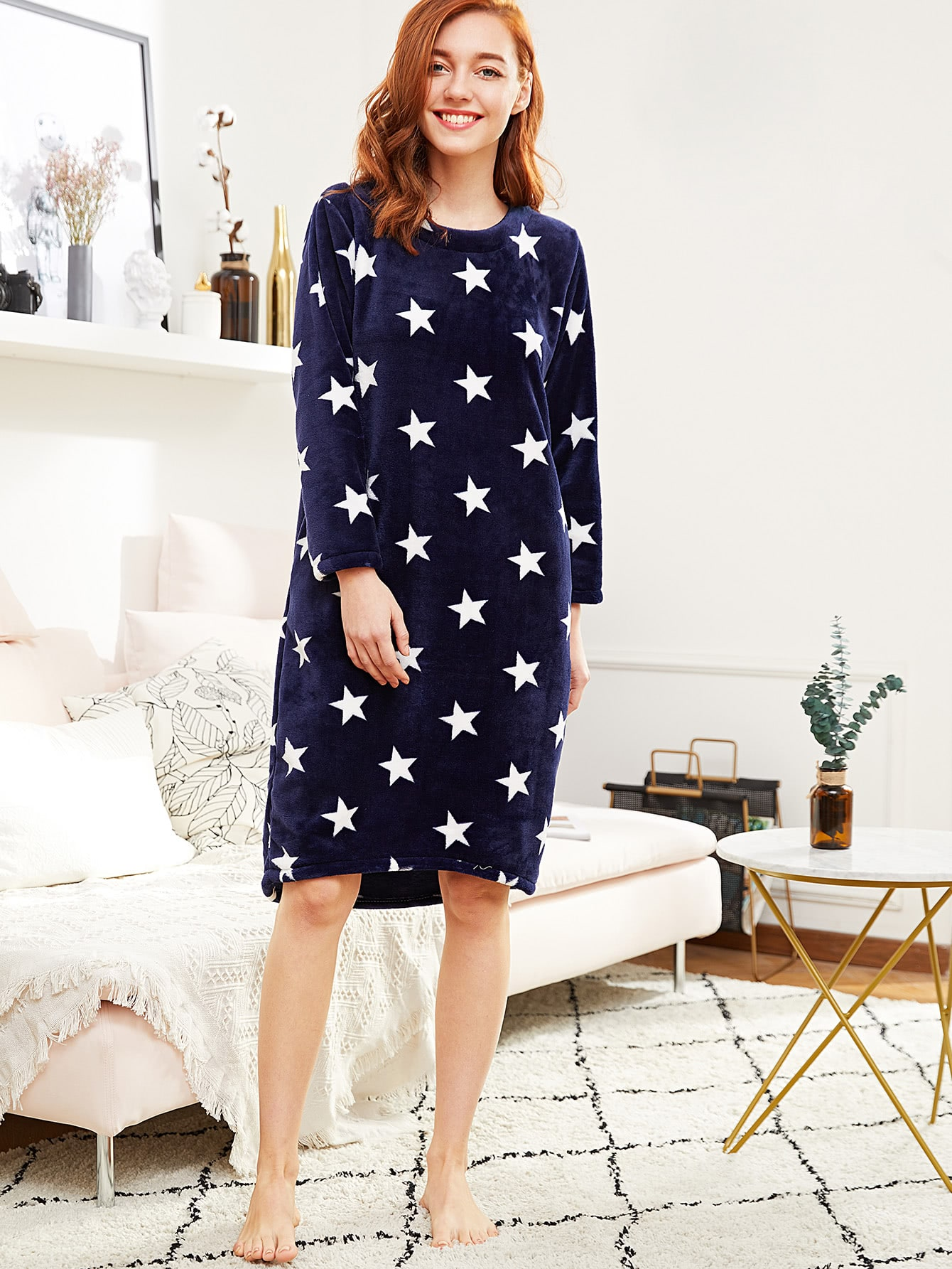 Image of All Over Star Pattern Plush Night Dress