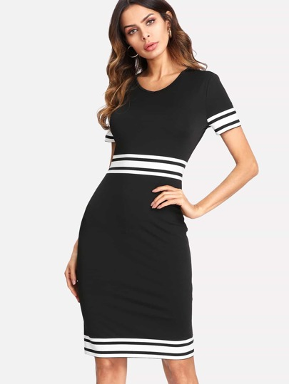 Striped Panel Form Fitting Dress