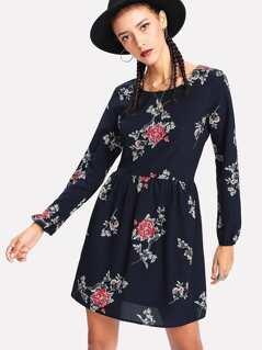 Crisscross Detail Smock Dress