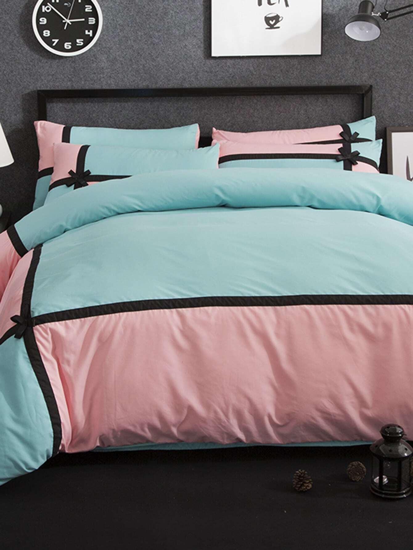 2.0m 4Pcs Bow Decorated Colorblock Bed Sheet Set топ спортивный nike nike ni464ewaahc4