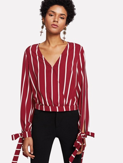 Split Sleeve Surplice Wrap Striped Top