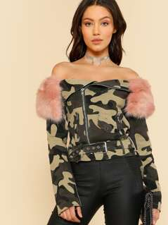 Camo Off Shoulder Faux Fur Jacket CAMO PINK