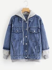 Ripped Hooded Denim Jacket