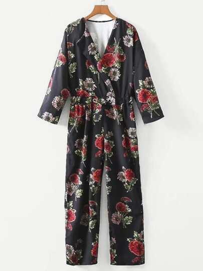 Drawstring Waist Surplice Floral Jumpsuit
