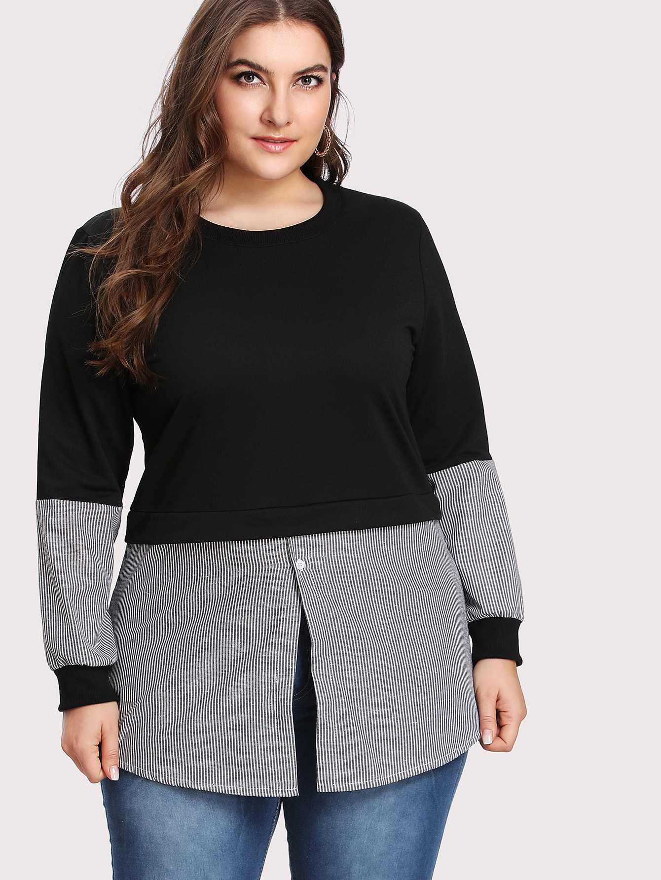 Contrast Stripe 2 In 1 Pullover