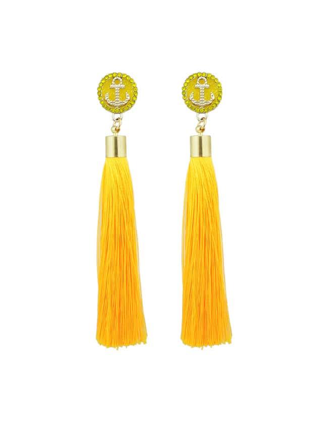 Gelbe Anker Dekoration mit langen Quaste Ohrringe