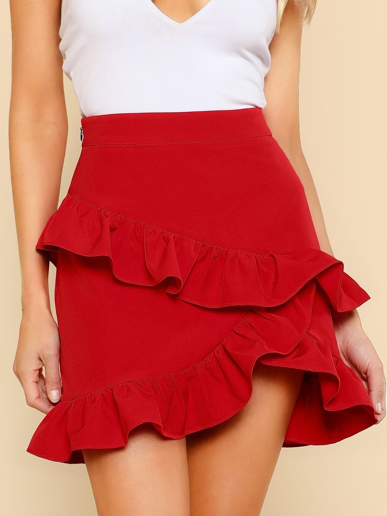 Купить Модная юбка с оборкой, Allie Leggett, SheIn