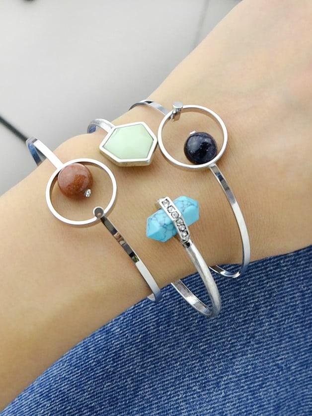 Black Open Cuff Bangles With Bead Bracelets gold open cuff bracelets for women bijoux jewelry