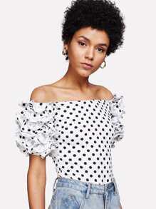 Lettuce Ruffle Sleeve Polka Dot Bardot Bodysuit